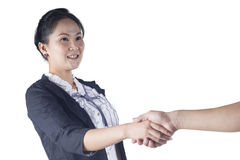 Business woman shake hand with her client Stock Images