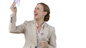 Business woman shaking a fan of cash stock footage