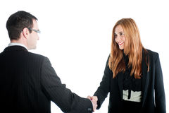 Business woman shaking hands with a business man Stock Images