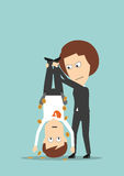 Business woman shaking out money from colleague. Wicked business woman holding colleague upside down and shaking out money from his pockets. Cartoon flat style Stock Image
