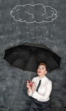 Business woman sheltering herself from the rain Royalty Free Stock Photo