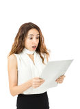 Business woman with a shocked expression Royalty Free Stock Image