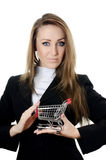 Business woman with the shopping cart Stock Photo