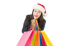 Business Woman shopping for christmas gifts Royalty Free Stock Photos