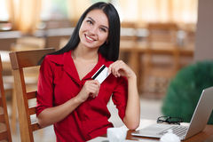 Business woman shopping online Stock Image