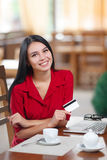 Business woman shopping online Stock Photo