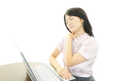 Business woman with shoulder pain. Stock Photos