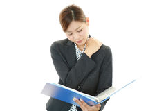 Business woman with shoulder pain. Stock Photo