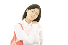 Business woman with shoulder pain. Royalty Free Stock Photo