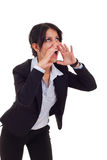 Business woman shouting Stock Photo