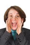 Business woman shouting Stock Images