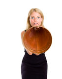 A business woman shouting. Into a old style megaphone Royalty Free Stock Image