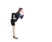 Business woman shouting. In full length isolated on white background, asian Stock Photo
