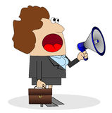 Business woman shouting into loudspeaker Stock Photography