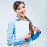 Business woman show  banner, white background  por Royalty Free Stock Photography
