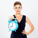 Business woman show big watch. Isolated white background portra Royalty Free Stock Photo