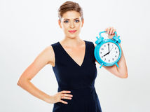 Business woman show big watch.  white background portra Stock Images
