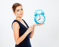 Business woman show big watch.  white background portra Royalty Free Stock Photography