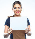 Business woman show blank board Royalty Free Stock Image