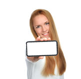 Business woman show blank card or mobile cell phone. Display on a white background. Focus on the hand royalty free stock photography