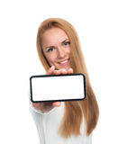 Business woman show blank card or mobile cell phone display. On a white background. Focus on the hand stock photography