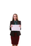 Business woman show board, banner with copy space.finger pointin Royalty Free Stock Image