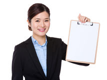 Business woman show with clipboard Stock Images