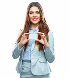 Business woman show credit card. White background isolated Stock Photos
