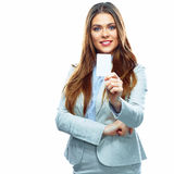 Business woman show credit card. White background  Stock Photo