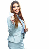 Business woman show credit card. White background  Royalty Free Stock Photo