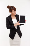 Business woman show empty space of pad PC Stock Image