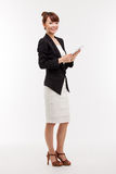 Business woman show empty space of pad PC Royalty Free Stock Images