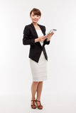 Business woman show empty space of pad PC Stock Photos