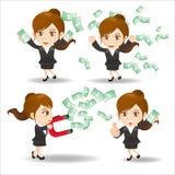 Business woman show finance money. Cartoon set of business woman show finance and money Royalty Free Stock Images