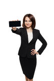 Business woman show mobile cell phone display Royalty Free Stock Photo