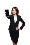 Business woman show mobile cell phone display Royalty Free Stock Image