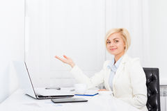 Business woman show open palm copy space Royalty Free Stock Photo