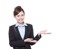 Business woman show something Royalty Free Stock Photo