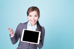 Business woman show tablet pc Royalty Free Stock Photo