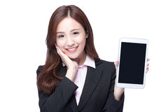 Business woman show tablet pc Royalty Free Stock Photography