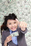 Business woman show thumb up with money Stock Photography