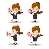 Business woman show trumpet Royalty Free Stock Images