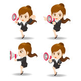 Business woman show trumpet Stock Photography
