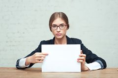 Business woman show white paper Stock Photos