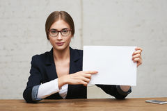 Business woman show white paper Royalty Free Stock Photo