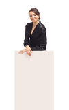 Business woman showing. Blank sign board Royalty Free Stock Photos