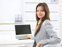 Business woman showing Stock Images