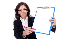 Business Woman Showing A Clipboard Royalty Free Stock Photo