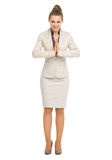 Business woman showing asian greeting Stock Photos