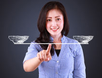 Business woman showing balancing concept Royalty Free Stock Photo